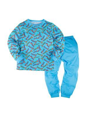 Пижама джемпер и брюки Машук. Цвет: синий