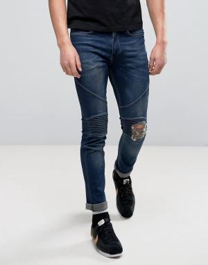 Religion Рваные байкерские джинсы скинни. Цвет: синий