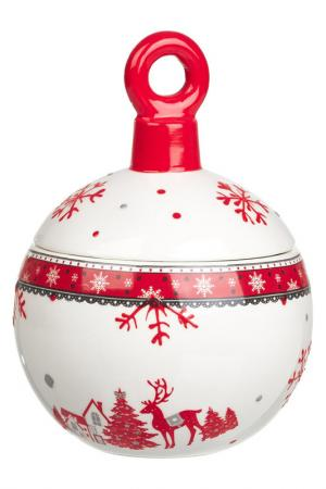 Вазочка Новогодний шар DUE ESSE CHRISTMAS. Цвет: белый, красный