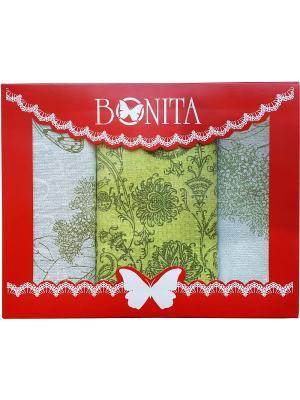 Полотенце - 3 шт. BONITA. Цвет: зеленый