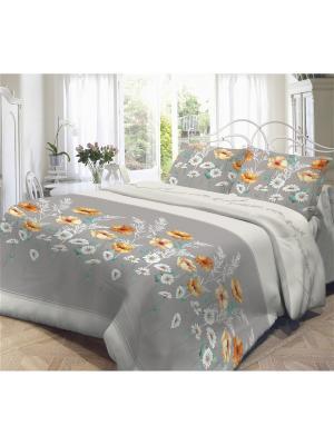 Комплект постельного белья 2,0-сп, НЕЖНОСТЬ, поплин 70*70см, Марта Волшебная ночь. Цвет: серый, светло-серый, оранжевый