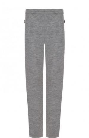 Шерстяные брюки прямого кроя с поясом на резинке Z Zegna. Цвет: серый