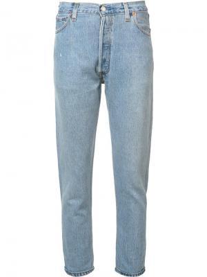 Укороченные джинсы Destruction Re/Done. Цвет: синий