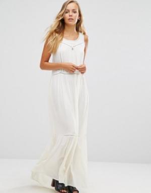 Maison Scotch Платье макси с сетчатыми вставками. Цвет: белый