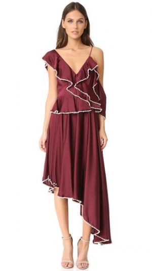 Асимметричное платье Orlando Talulah. Цвет: бордовый