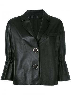 Укороченная куртка с оборками на рукавах Drome. Цвет: чёрный