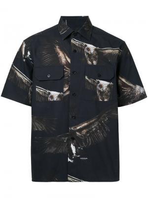 Рубашка с принтом орлов Yoshio Kubo. Цвет: чёрный