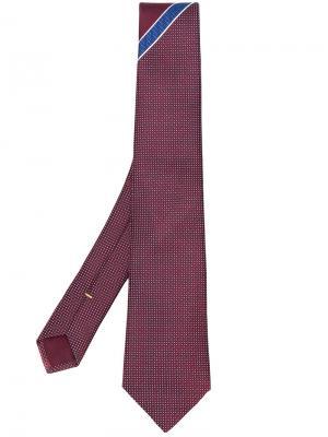 Галстук с вышивкой Canali. Цвет: красный