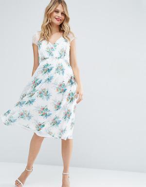 ASOS Maternity Платье миди для беременных с кружевом и принтом Kate. Цвет: мульти