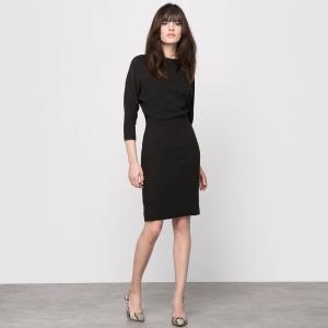 Платье из крепа с эффектом 2 в 1 La Redoute Collections. Цвет: красный/ бордовый,черный