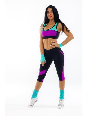 Спортивный топ Триангл Profit. Цвет: бирюзовый, фиолетовый, черный