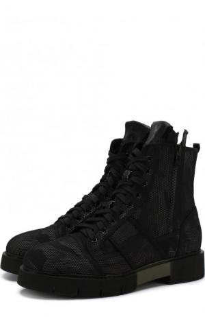Высокие текстильные ботинки на шнуровке O.X.S.. Цвет: хаки
