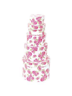 Коробка картонная, набор из 5 шт. 9*9*5-19*19*13 см. Розовая графика VELD-CO. Цвет: красный, белый