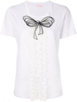 Блузка с вышитым бантом Giamba. Цвет: белый