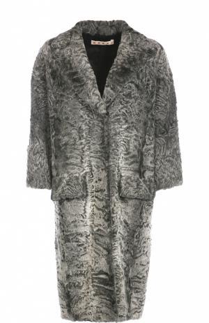 Меховое пальто с укороченным рукавом и широкими лацканами Marni. Цвет: серый