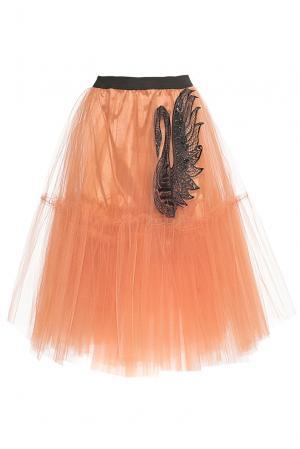 Юбка с пайетками и стразами PL-0612 Cristina Effe. Цвет: оранжевый