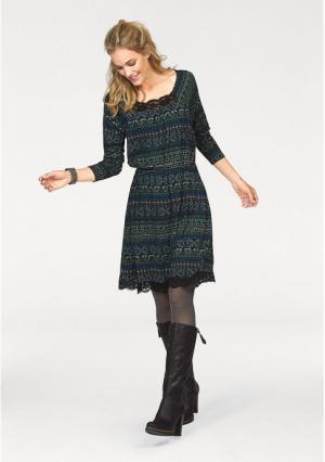Платье CHEER. Цвет: зелено-синий/зеленый/синий/цвет белой шерсти/черный