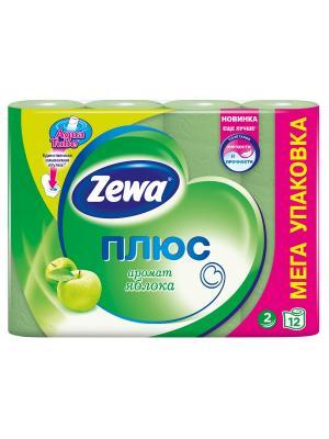 Zewa Бумага туалетная Плюс 2-ух слойная с ароматом яблока 12шт. Цвет: зеленый
