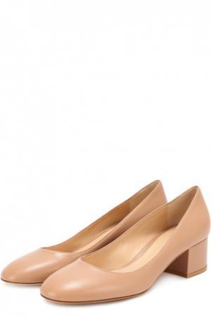 Кожаные туфли на низком каблуке Gianvito Rossi. Цвет: розовый