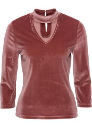 Бархатная футболка с чокером (кирпично-красный) bonprix. Цвет: кирпично-красный
