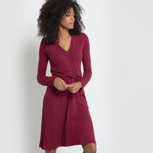 Платье из трикотажа, с длинными рукавами La Redoute Collections. Цвет: красно-фиолетовый,черный