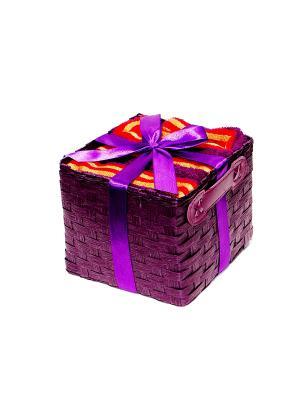 Набор салфеток в подарочной упаковке 3 предмета 40х60 фиолетовый полоску La Pastel. Цвет: фиолетовый