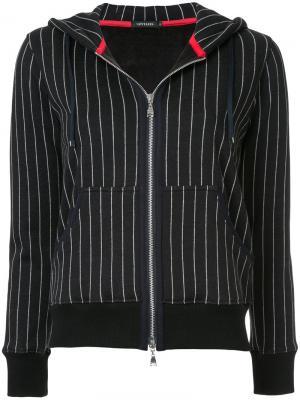 Куртка в полоску с капюшоном Loveless. Цвет: чёрный