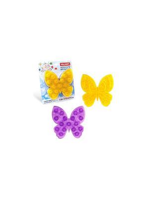 Мини-коврик МОТЫЛЁК на присосах, набор 6 шт. VALIANT. Цвет: фиолетовый, желтый