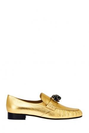 Кожаные лоферы Valentino. Цвет: золотой