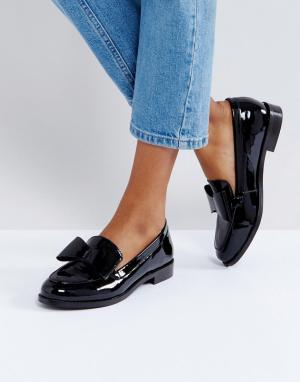 Office Туфли на плоской подошве с бантом Present. Цвет: черный
