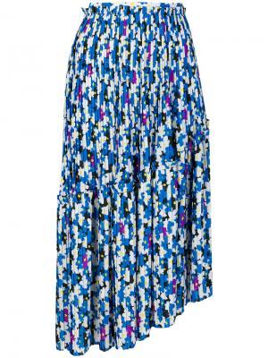 Плиссированная юбка с цветочным принтом Kenzo. Цвет: синий