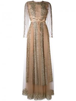 Кружевное длинное платье с кристаллами Valentino. Цвет: телесный