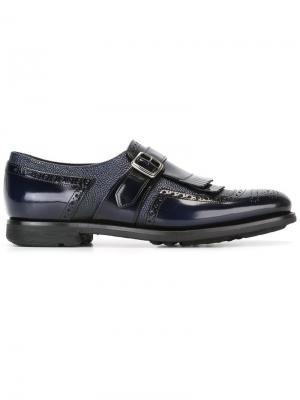 Туфли-монки с перфорацией Churchs Church's. Цвет: синий