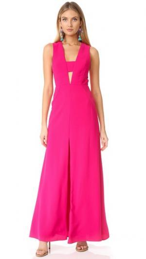 Вечернее платье с V-образным декольте и вырезами Jill Stuart. Цвет: розовый цветок