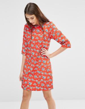 Trollied Dolly Платье с цветочным принтом Gift Of A Shift. Цвет: оранжевый