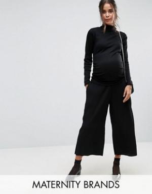 New Look Maternity Юбка-шорты для беременных со складками. Цвет: черный