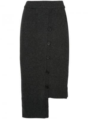 Асимметричная юбка на пуговицах Goen.J. Цвет: серый