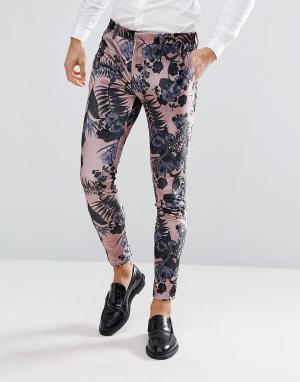 ASOS Розовые бархатные брюки скинни с цветочным принтом Wedding. Цвет: розовый