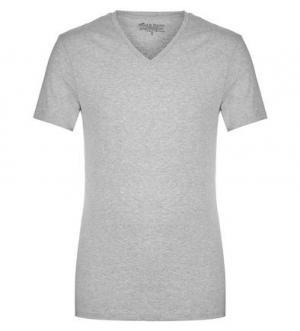 Серая футболка с треугольным вырезом Bread&Boxers. Цвет: серый