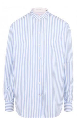 Хлопковая блуза свободного кроя в полоску Victoria Beckham. Цвет: голубой