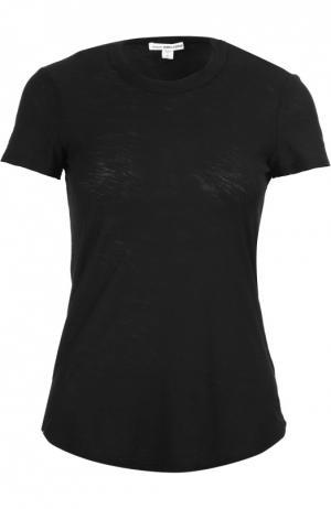 Хлопковая футболка с круглым вырезом James Perse. Цвет: черный