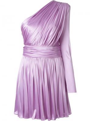 Платье на одно плечо Fausto Puglisi. Цвет: розовый и фиолетовый