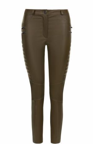 Укороченные кожаные брюки-скинни DROMe. Цвет: хаки