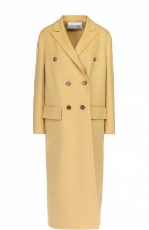 Двубортное пальто с остроконечными лацканами Valentino. Цвет: желтый