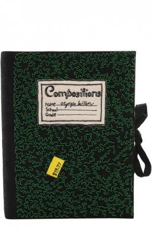 Клатч Notebook с вышивкой Olympia Le-Tan. Цвет: зеленый