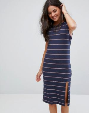 Ripcurl Трикотажное пляжное платье в полоску Rip Curl. Цвет: темно-синий