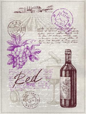 Полотенца Винная тема GrandStyle. Цвет: коричневый, сиреневый, светло-серый