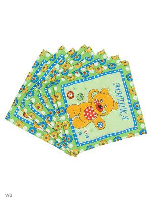 Набор платков носовых детских Римейн. Цвет: зеленый, желтый