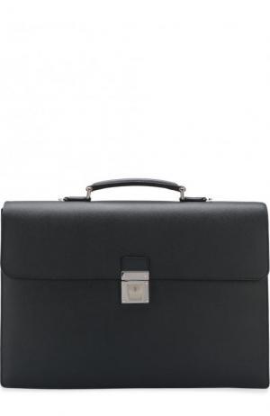 Кожаный портфель с плечевым ремнем Serapian. Цвет: темно-синий