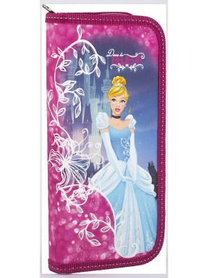 Пенал жесткий ламинированный Disney Princess. Цвет: голубой, фуксия